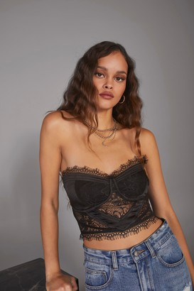 Nasty Gal Womens Express Yourself Cupped Corset Top - black - 8
