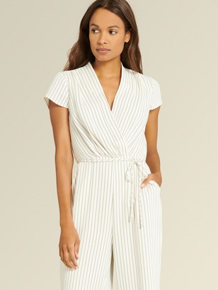 DKNY Donna Karan Women's Short Sleeve Jumpsuit With Tie Belt - Cream/Navy - Size 16