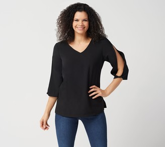 Du Jour Solid or Printed Split Sleeve Woven Top
