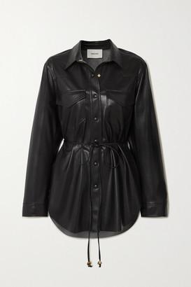 Nanushka Eddy Belted Vegan Leather Shirt - Black