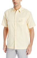 Cubavera Men's Short Sleeve Geometric Embroidery Detail Woven Shirt with Pocket