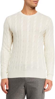 Ralph Lauren Purple Label Cashmere Cable-Knit Crewneck Sweater, Cream