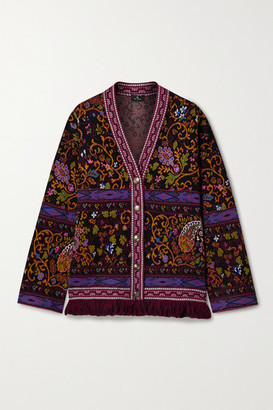 Etro Fringed Jacquard-knit Cardigan - Black