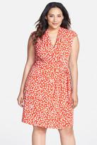 Eliza J Dot Print Cap Sleeve Surplice Jersey Dress (Plus Size)