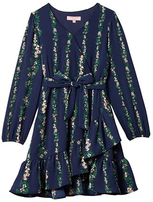BCBG Girls Printed Crepe Faux Wrap Dress w/ Balloon Sleeve (Big Kids) (Evening Blue) Girl's Dress