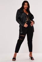 Missguided Plus Size Premium Black Cropped Faux Leather Biker Jacket