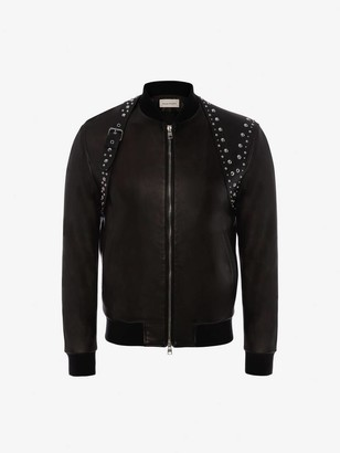 Alexander McQueen Studded Harness Leather Bomber Jacket