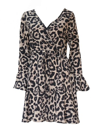 Goodnight Macaroon 'Lewis' Leopard Print Wrap Dress (3 Colors)