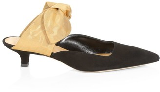The Row Coco Bow Suede & Silk Mules