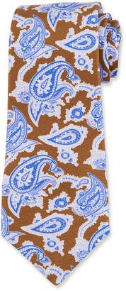 Kiton Men's Paisley Silk Tie, Brown