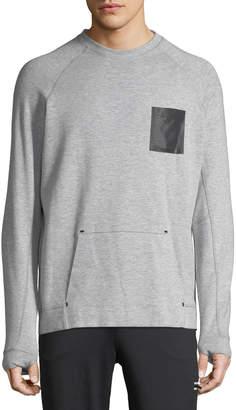 Karl Lagerfeld Paris Men's Long-Sleeve Cotton-Blend Sweatshirt with Mesh Pocket