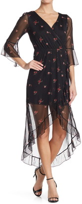 Kenedik Floral Mesh 3/4 Sleeve High/Low Dress