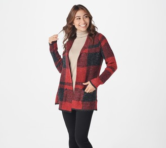 Denim & Co. Long-Sleeve Buffalo Plaid Cardigan with Notch Collar