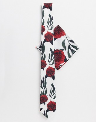Twisted Tailor tie set with red floral print in white
