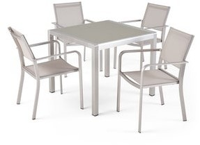 Christopher Knight Home Boris Outdoor Modern 4 Seater Aluminum Dining Set with Tempered Glass Table Top