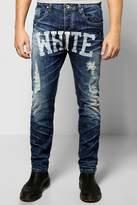 Boohoo White Skinny Slogan Jeans