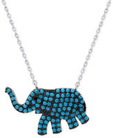 Macy's Manufactured Turquoise Elephant Pendant Necklace in Sterling Silver