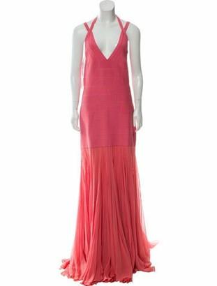 Herve Leger Vintage Silk Bandage Evening Gown Pink