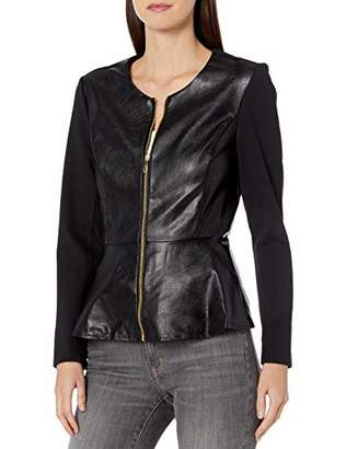 Nanette Lepore Nanette Women's Faux Leather Jacket with Combo Fabric and Gold Exposed Zipper