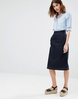 Warehouse Denim Midi Skirt