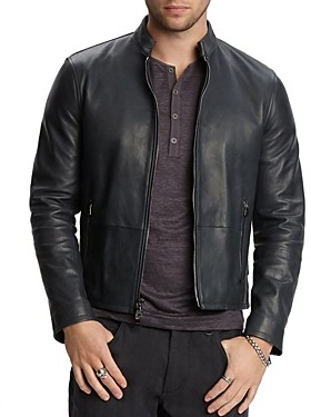 John Varvatos Collection Zip-Front Leather Jacket
