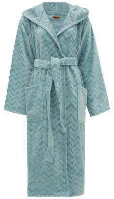 Missoni Home Rex Zigzag Hooded Cotton-terry Bathrobe - Light Blue