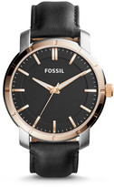Fossil Lance Three-Hand Black Leather Watch