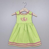 The Well Appointed House Girl's Pique Dress in Green with Hot Pink Trim-Can Be Personalized