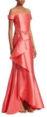 David Meister Off-The-Shoulder Ruffle Gown