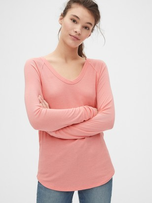 Gap Mix-Fabric Raglan U-Neck T-Shirt