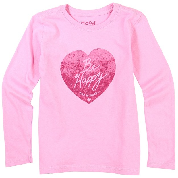 Life is Good Girls' Stamp Be Happy L/S Creamy Tee (Toddler/Little Kids/Big Kids) (Peony Pink) - Apparel