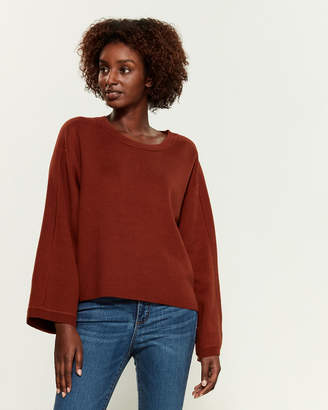 Vince Cropped Crew Neck Long Sleeve Sweater