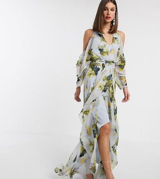 Asos DESIGN Tall cold shoulder maxi dress in mint floral print