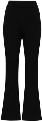 ST. AGNI Enzo ribbed knit flared trousers