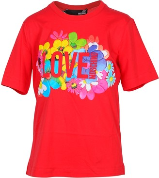 Love Moschino Flower Print Red Cotton Women's T-Shirt