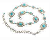 Neiman Marcus Turquoise-Hued Concho Chain Belt