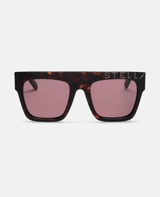 Stella McCartney logo havana square sunglasses