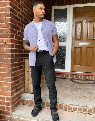 ASOS DESIGN regular fit shirt with revere collar in lilac seersucker