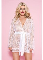 Music Legs 60082Q-WHITE Plus Size Floral Lace Robe with Scalloped Trim & Satin Belt, White