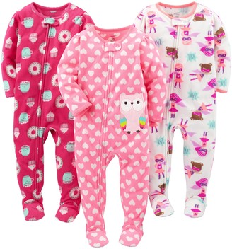 Simple Joys by Carter's Baby Girls' Toddler 3-Pack Flame Resistant Fleece Footed Pajamas