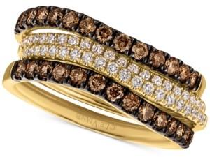 LeVian Le Vian Chocolatier Multi-Row Wavy Statement Ring (7/8 ct. t.w.) in 14k Gold
