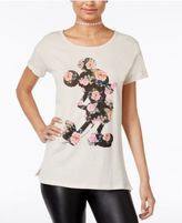 Disney Juniors' Mickey Mouse Floral Silhouette Graphic T-Shirt