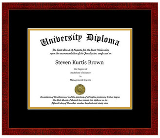 "Perfect Cases, Inc. Single Diploma Frame with Double Matting, Classic Cherry, 8.5""x11"""