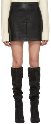 Helmut Lang Black Stretch Leather Miniskirt