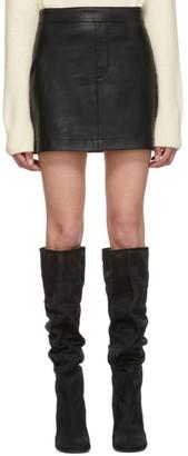 Helmut Lang Black Stretch Leather Miniskirt