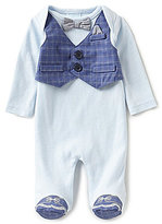 Edgehill Collection Baby Boys Preemie Mock-Vest Footed Coverall