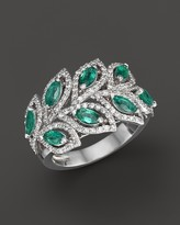Bloomingdale's Emerald and Diamond Leaf Statement Ring in 14K White Gold - 100% Exclusive