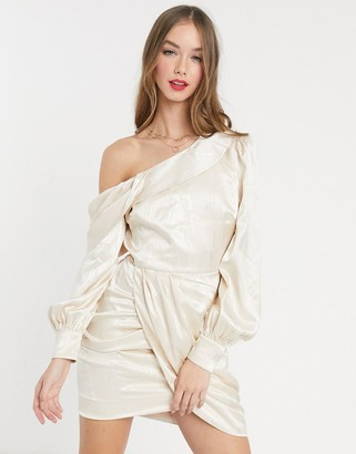 Ever New mini dress with drape shoulder in ivory