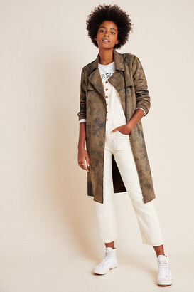 Anthropologie Roxie Sueded Tie-Dye Trench Coat By in Assorted Size XS
