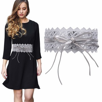 Trimming Shop Women's Waist Belt Hollow Lace Obi Belt Bow Tie Wrap Around PU Leather Cinch Bowknot Waistband for Wedding Dresses Daily Wear 100mm Wide